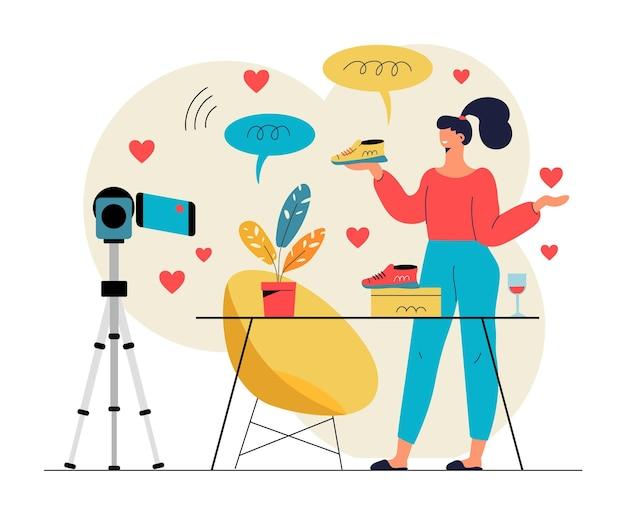 Influencer video blogging illustration Kostenlosen Vektoren