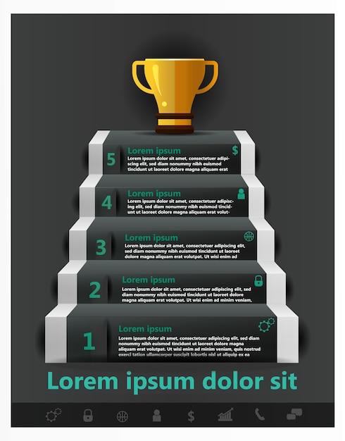 Info-grafiken start-business-treppe zum gold cup erfolgreich Premium Vektoren