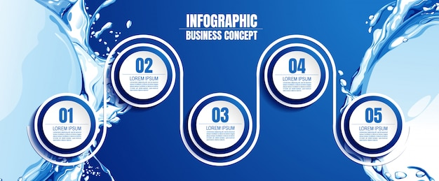 Infografic vorlage mit 5 schritten Premium Vektoren