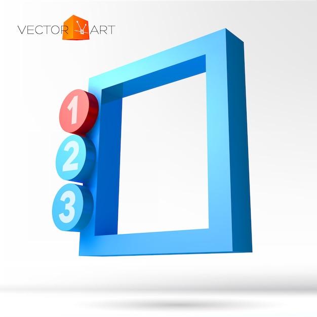Infografik 3d-rahmen mit nummerierten optionen Premium Vektoren