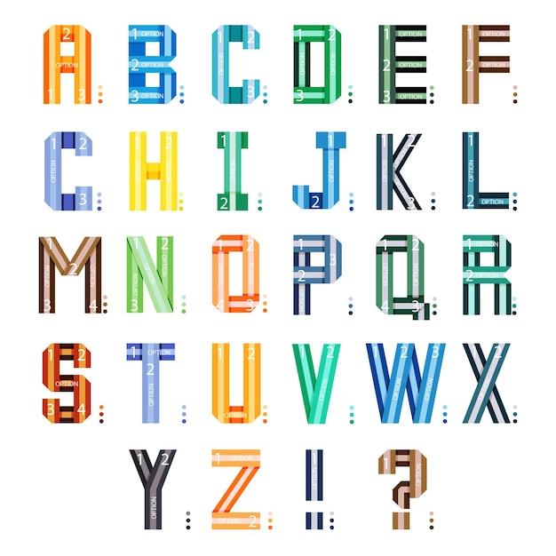 Infografik bänder schriftart. mehrfarbige stilalphabetbuchstaben lokalisiert auf weißem hintergrund. Kostenlosen Vektoren