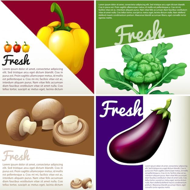 Infografik banner mit frischem gemüse Premium Vektoren