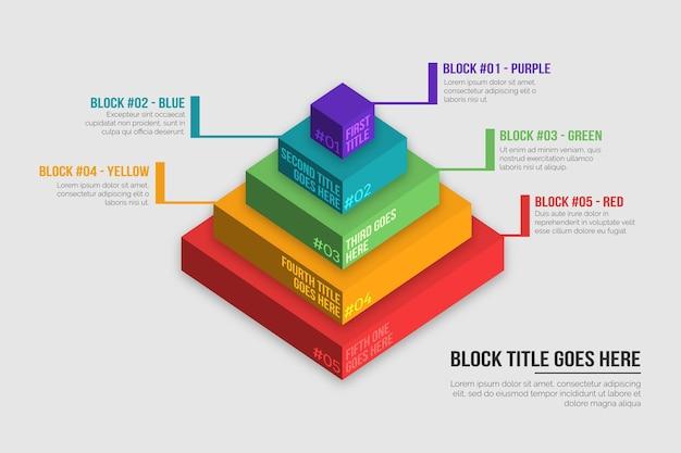 Infografik der 3d-blockschichten Kostenlosen Vektoren