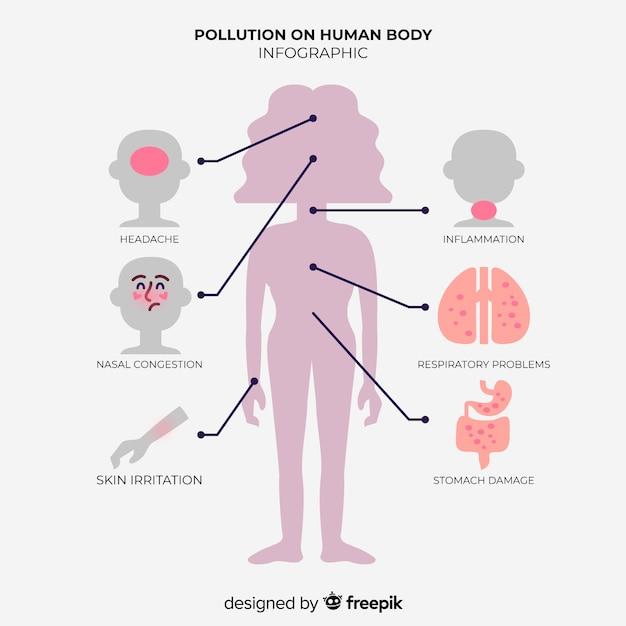 Infografik der auswirkungen der verschmutzung auf den menschlichen körper Kostenlosen Vektoren