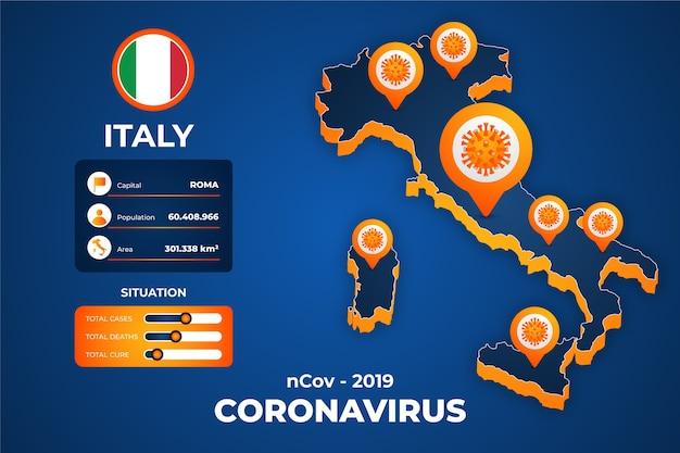 Infografik der coronavirus-landkarte Kostenlosen Vektoren