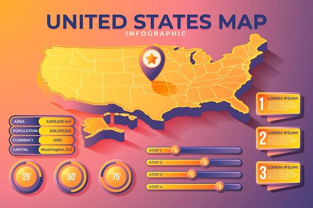 Infografik der isometrischen amerikakarte Kostenlosen Vektoren