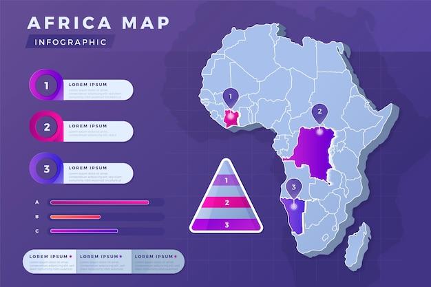 Infografik der karte mit farbverlauf in afrika Premium Vektoren
