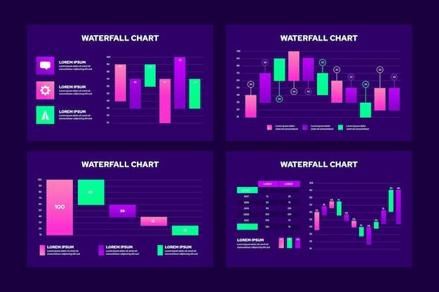 Infografik der wasserfallkarte Kostenlosen Vektoren
