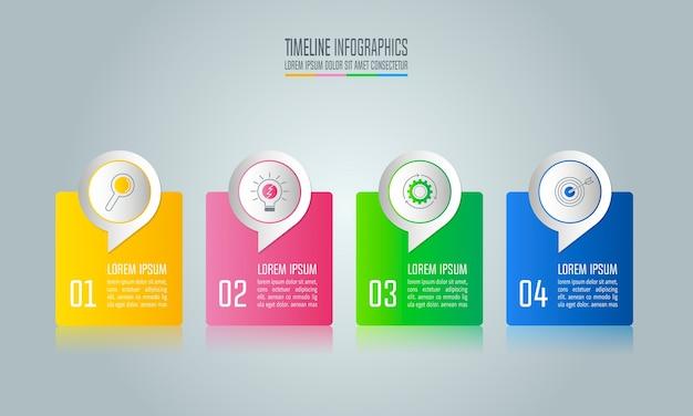 Infografik-design-business-konzept mit 4 optionen. Premium Vektoren