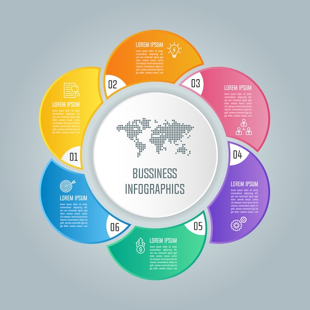 Infografik-design-business-konzept mit 6 optionen, teile oder verfahren. Premium Vektoren