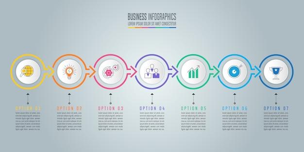 Infografik-design-business-konzept mit 7 optionen, teile oder prozesse. Premium Vektoren