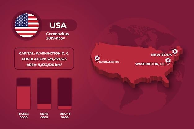 Infografik-design der coronavirus-landkarte Kostenlosen Vektoren