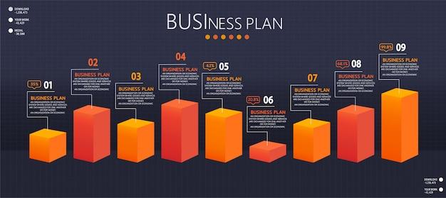 Infografik design illustration für moderne prozesse in form von präsentationen, bannern, grafiken, geschäfts- und bildungsanwendungen Premium Vektoren