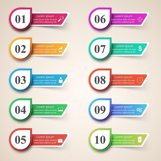 Infografik-design. liste von 10 elementen. Premium Vektoren