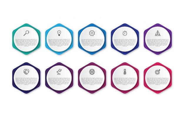 Infografik-design mit 10 diagrammen Premium Vektoren