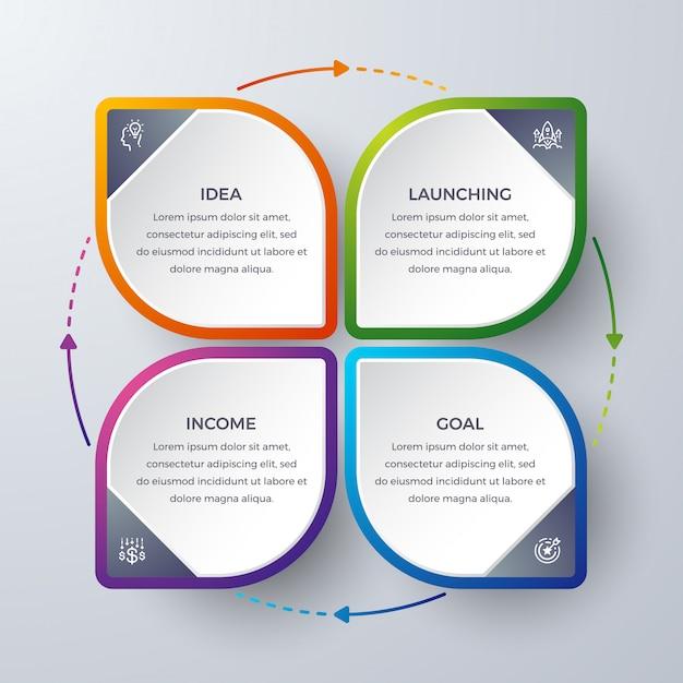 Infografik-design mit 4 verfahren oder schritten. Premium Vektoren