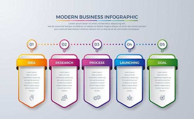 Infografik-design mit 5 verfahren oder schritten. Premium Vektoren