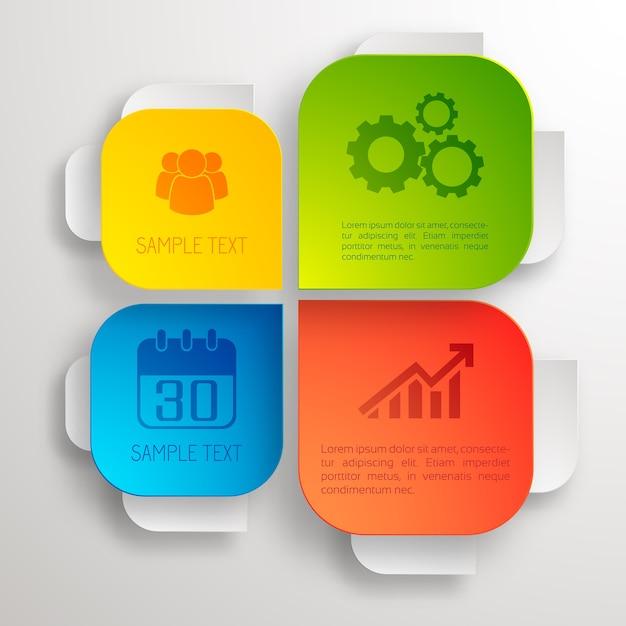 Infografik-designkonzept mit bunten geschäftselementen und -ikonen Kostenlosen Vektoren
