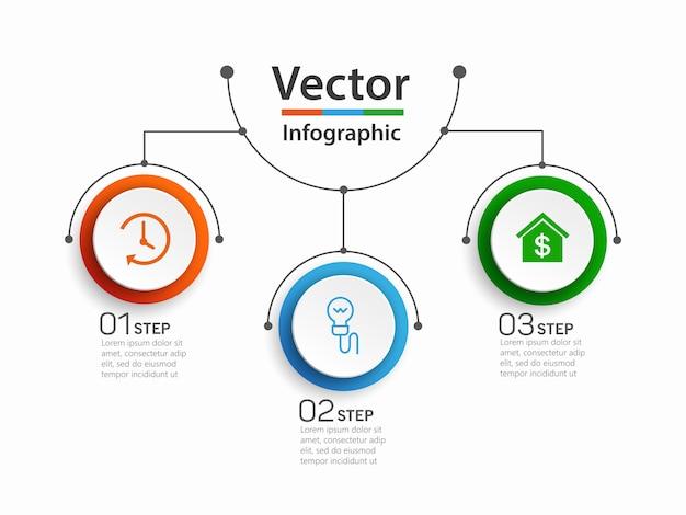 Infografik designvorlage mit 3 optionen Premium Vektoren