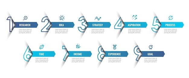Infografik designvorlage mit symbolen und 9 optionen oder schritten. kann für prozessdiagramme, präsentationen, workflow-layout, banner, flussdiagramm und infografik verwendet werden. Premium Vektoren