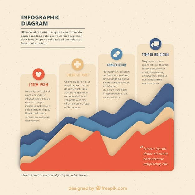 Infografik-diagramm mit original-texturen für ebenen Kostenlosen Vektoren