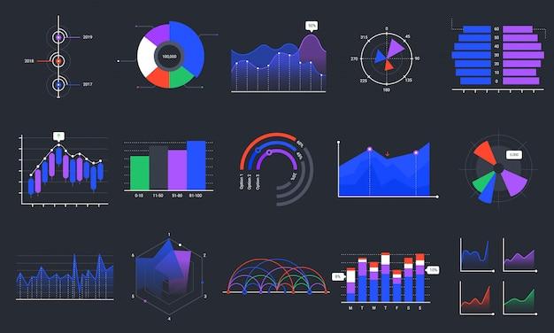 Infografik-diagramme. bunte datendiagramme, statistik-dashboard-diagramm und analytischer präsentationsdiagrammsatz. geschäftsdatenvisualisierung, marketinggrafik auf schwarzem hintergrund. verkaufsanalyse Premium Vektoren