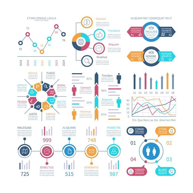 Infografik-diagramme. infochart-elemente, marketing-diagramme und grafiken, balkendiagramme. Premium Vektoren
