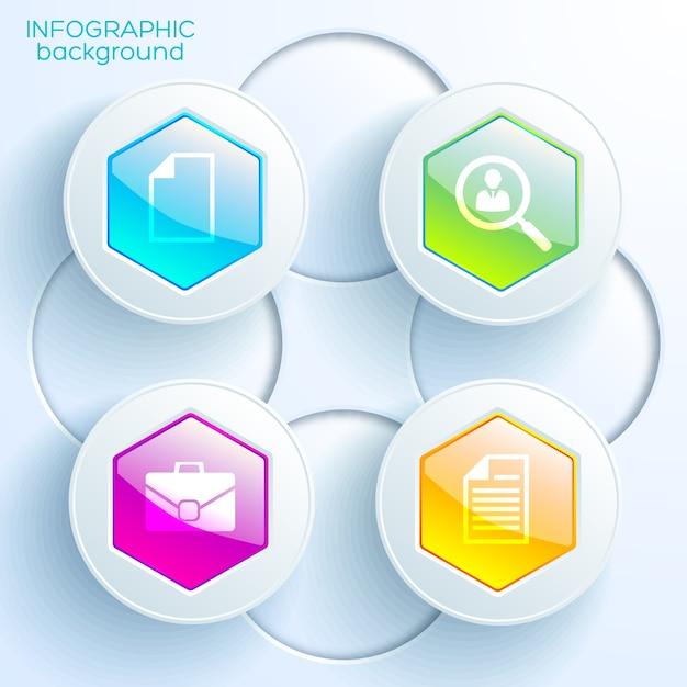 Infografik-diagrammvorlage mit vier bunten glänzenden sechseckigen schaltflächen, lichtkreisen und geschäftssymbolen Premium Vektoren