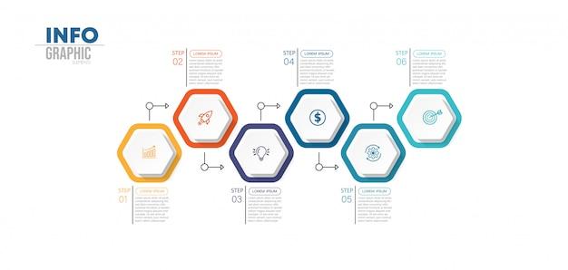 Infografik-element mit 6 optionen oder schritten. kann für prozess, präsentation, diagramm, workflow-layout, infografik, webdesign verwendet werden. Premium Vektoren