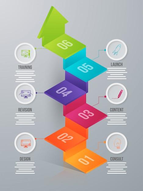 Infografik-element mit sechs ebenen in 3d für business oder unternehmen Premium Vektoren
