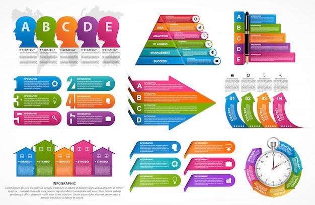 Infografik-elemente-auflistung. Premium Vektoren