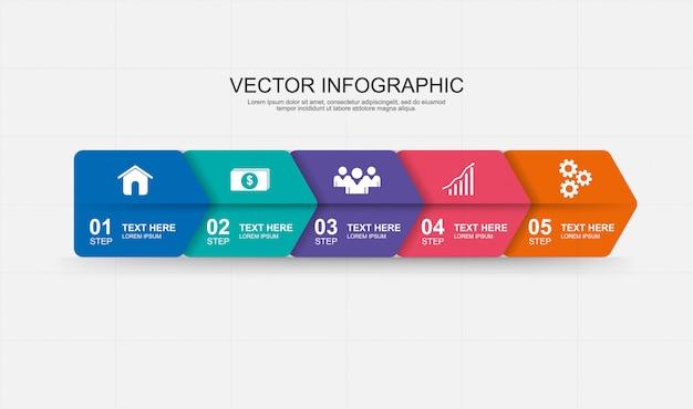 Infografik-elemente design mit 5 optionen Premium Vektoren