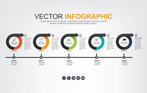 Infografik-elemente-design mit 5 optionen Premium Vektoren