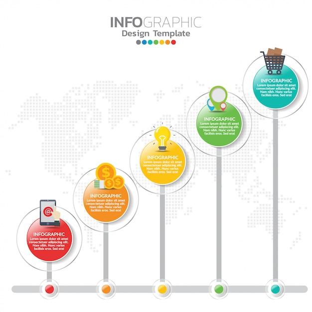 Infografik-elemente für inhalt, timeline, workflow, diagramm. Premium Vektoren