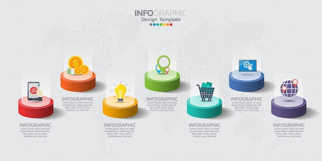Infografik-elemente für inhalte mit symbolen. Premium Vektoren