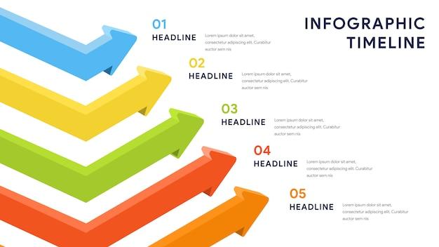 Infografik-elemente für schritte, timeline, workflow Premium Vektoren
