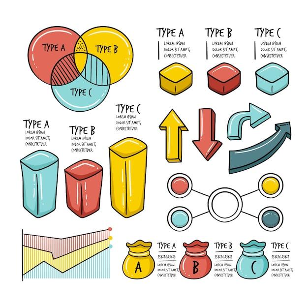 Infografik-elemente in der hand gezeichnet Kostenlosen Vektoren