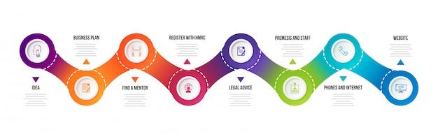 Infografik-elemente mit acht ebenen für unternehmen und unternehmen Premium Vektoren