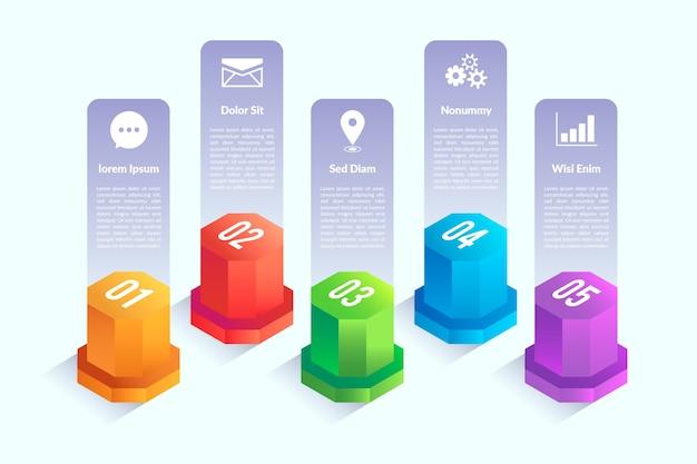 Infografik-elemente mit isometrischem design Kostenlosen Vektoren