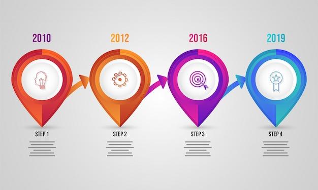 Infografik-elemente mit vier ebenen für geschäfts- oder unternehmenssektionen Premium Vektoren