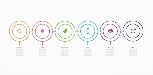 Infografik-entwurfsvorlage der zeitachse mit schrittstruktur. geschäftskonzept mit 6 optionen oder schritten. blockdiagramm, informationsdiagramm, präsentationsbanner, workflow. Premium Vektoren