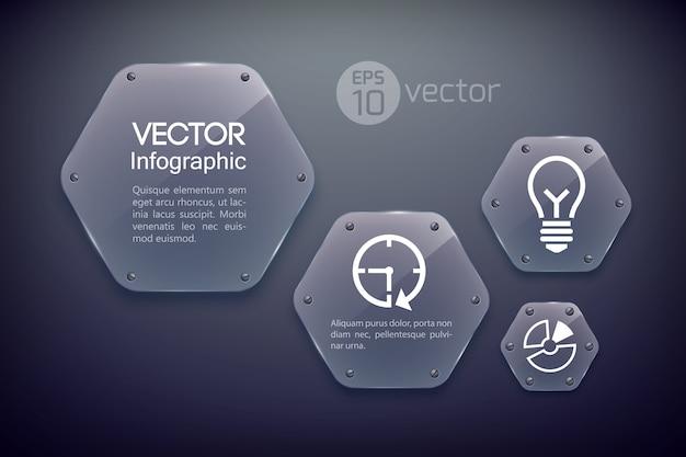 Infografik-entwurfsvorlage mit geschäftsikonen und glänzenden sechsecken aus glas Kostenlosen Vektoren