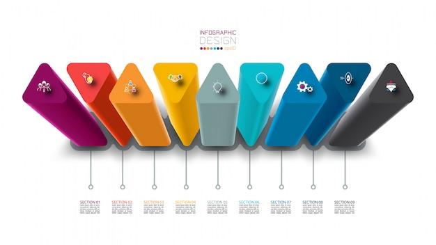 Infografik-etikettendesign mit dreiecksäulendesign. Premium Vektoren