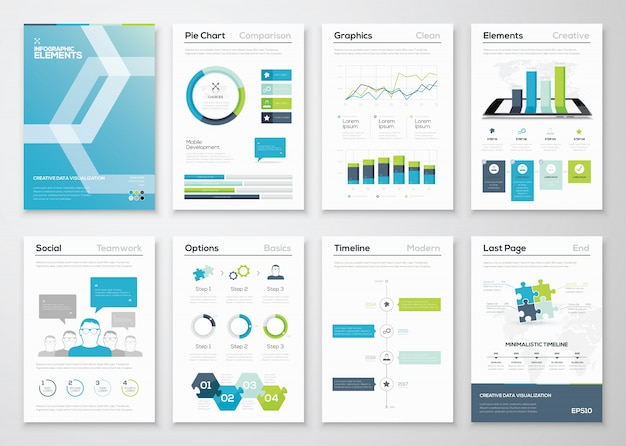 Infografik Flyer und Broschüre Designs und Web-Vorlagen Vektor ...