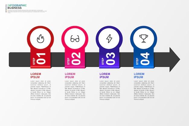 Infografik für business template 4 option Premium Vektoren