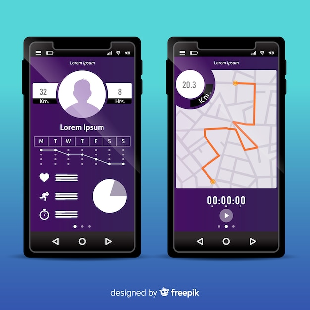 Infografik für mobile lauf app Kostenlosen Vektoren