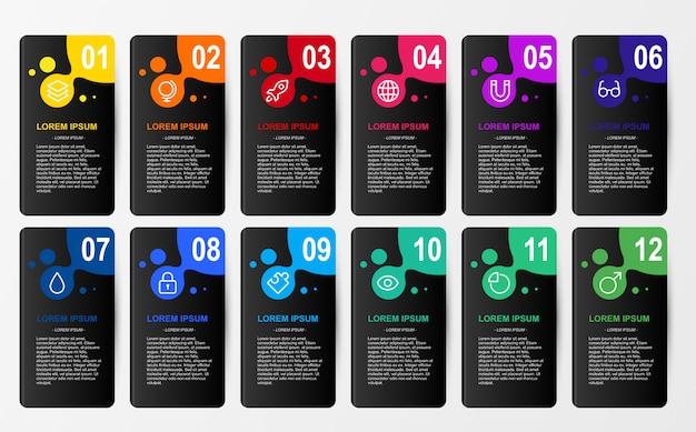Infografik für unternehmen 12 farben option vorlage Premium Vektoren