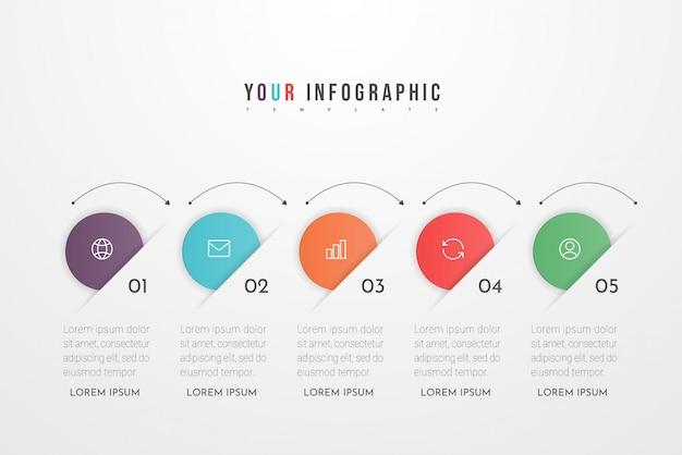 Infografik-gestaltungselemente für ihre geschäftsdaten mit fünf kreisoptionen, teilen, schritten, zeitleisten oder prozessen. . Premium Vektoren