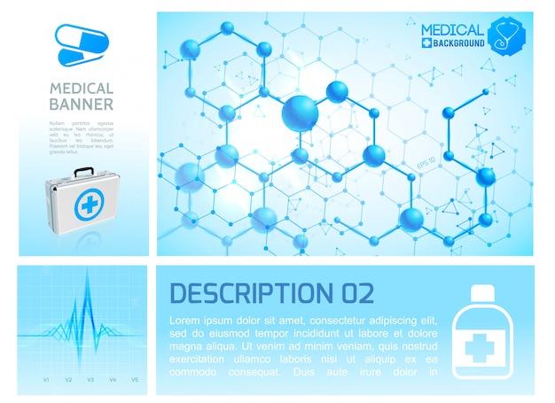 Infografik im gesundheitswesen blaue infografik mit realistischem herzrhythmus und molekularer struktur Kostenlosen Vektoren