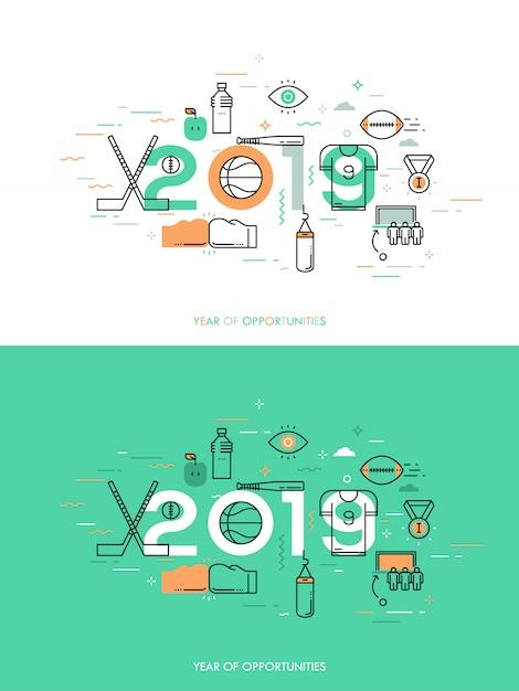 Infografik-konzept 2018 jahr der möglichkeiten Premium Vektoren